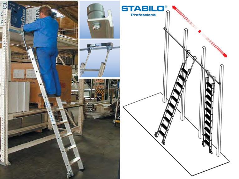 Стеллажная лестница со ступенями, для Т-образных шинных систем